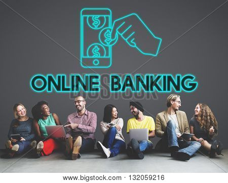 Online Banking Technology Commercial Finance Concept