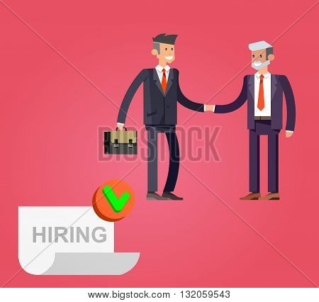 Businessman handshake on contract paper after agreement. Hiring process concept. Vector detailed character, cool flat  illustration