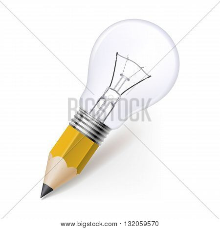 Lead pencil with light bulb on its top. Idea and creativity concept