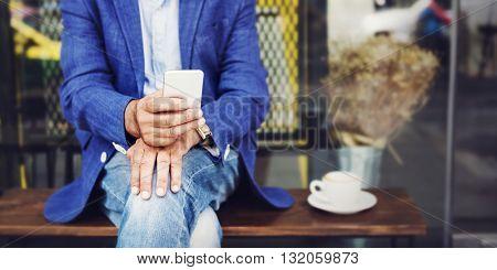 Lifestyle Senior Man Smart Technology Relax Concept