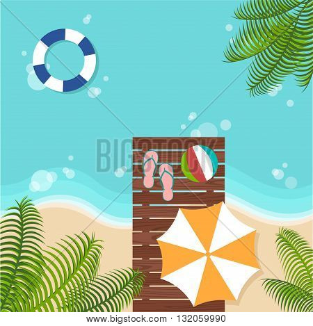 background of summer beach with beach parasol