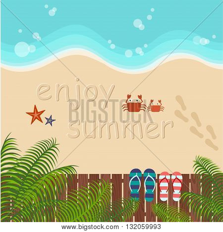 background of summer beach with couple flip flops
