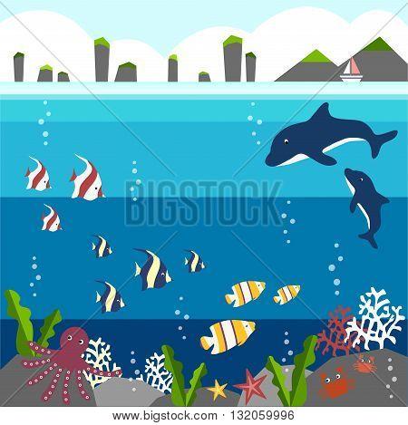 summer flat illustration background under the sea
