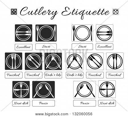 Cutlery etiquette. Table etiquette. Set of eating utensils etiquette icons. Food eating rules and manners. Table manners and fine dining etiquette. Vector isolated illustration.