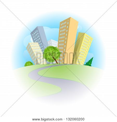 Colorful abstract city with tall buildings illustration on white background.