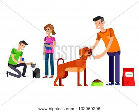 Vector detailed character Volunteer design concept with woman Volunteer and a man Volunteer  feed dog and cat, Volunteer veterinary care for homeless animal