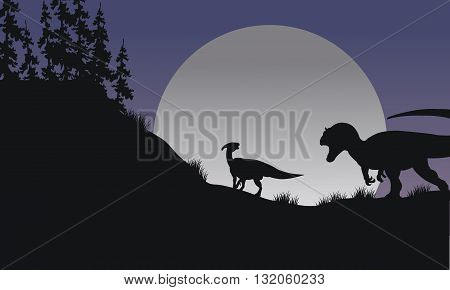 Silhouette of Parasaurolophus and Allosaurus at the night