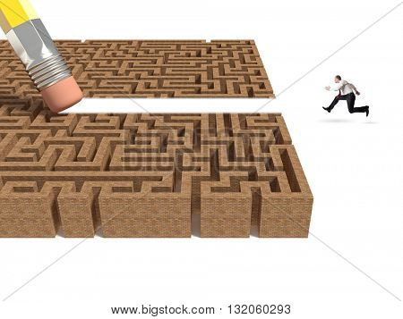 3d labyrinth and pencil eraser