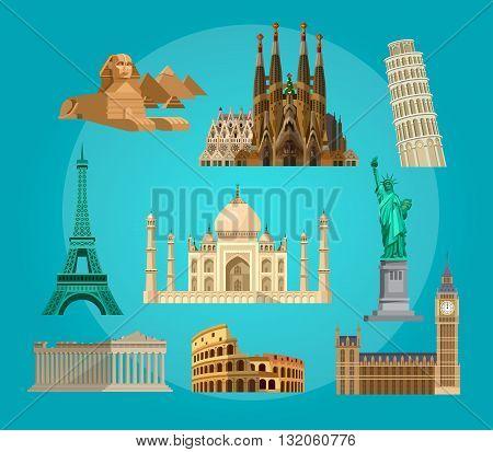 High quality, detailed most famous World landmarks. Travel vector. Travel illustration. Travel landmarks. Happy travel