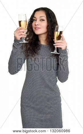 girl with champagne glass beauty portrait, black and white checkered dress, long curly hair, glamour concept, isolated on white background