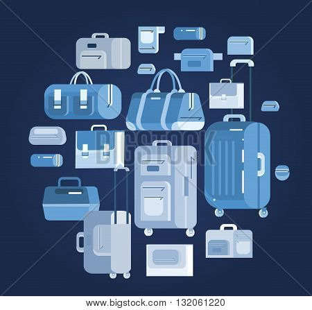 Travel bags in various colors. Travel bags in various colors. Luggage suitcase and Travel  bag isolated on white background. Vector travel bags. Illustration bag
