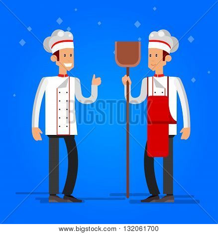 Vector detailed characters professional chef, Cook baker cooking bread, bakery interior flat design vector illustration
