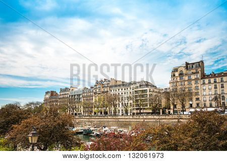 antique city building in paris, france Europe