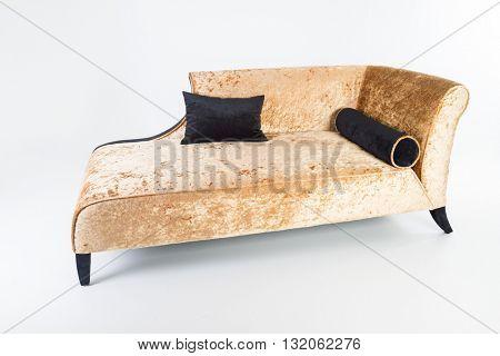 Modern golden furniture in white room