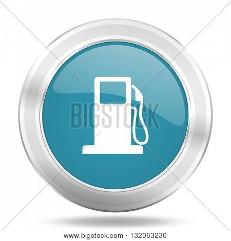 petrol icon, blue round metallic glossy button, web and mobile app design illustration