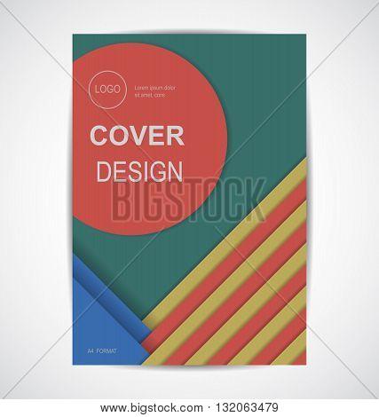 Geometric cover design. retro colors format template A4