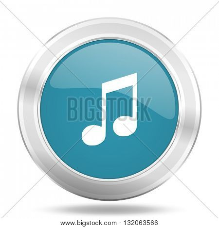 music icon, blue round metallic glossy button, web and mobile app design illustration