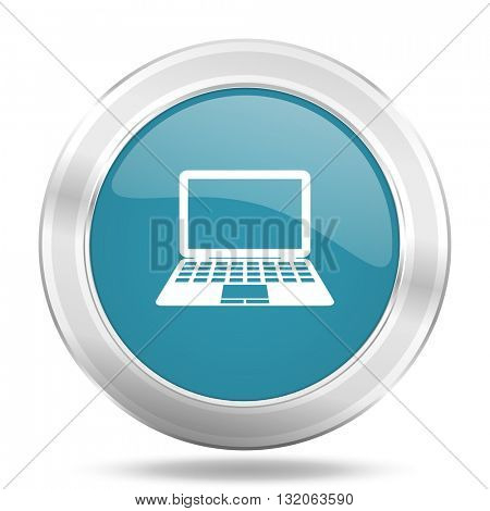 computer icon, blue round metallic glossy button, web and mobile app design illustration
