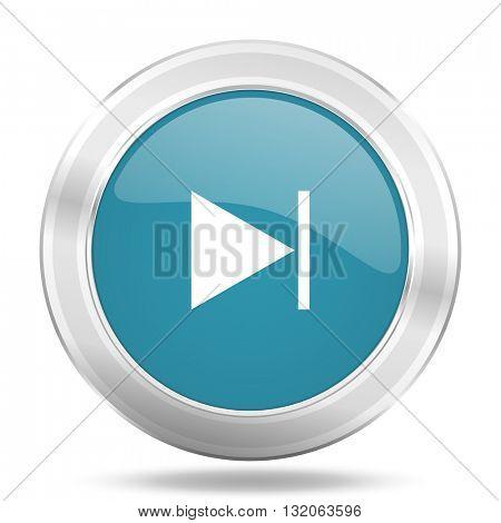 next icon, blue round metallic glossy button, web and mobile app design illustration