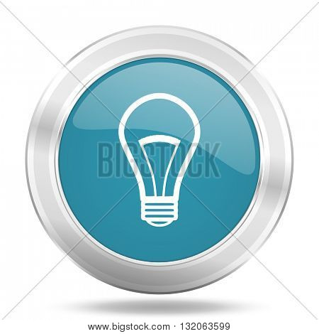 bulb icon, blue round metallic glossy button, web and mobile app design illustration