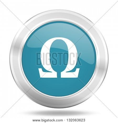 omega icon, blue round metallic glossy button, web and mobile app design illustration