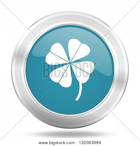 four-leaf clover icon, blue round metallic glossy button, web and mobile app design illustration
