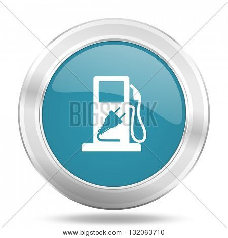 fuel icon, blue round metallic glossy button, web and mobile app design illustration