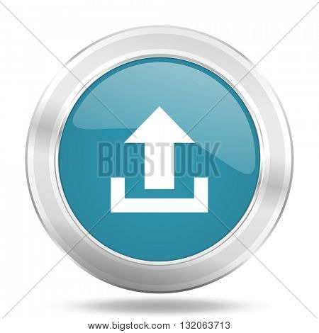 upload icon, blue round metallic glossy button, web and mobile app design illustration