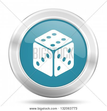 game icon, blue round metallic glossy button, web and mobile app design illustration