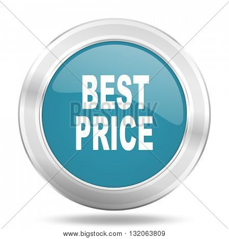 best price icon, blue round metallic glossy button, web and mobile app design illustration