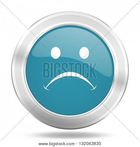cry icon, blue round metallic glossy button, web and mobile app design illustration