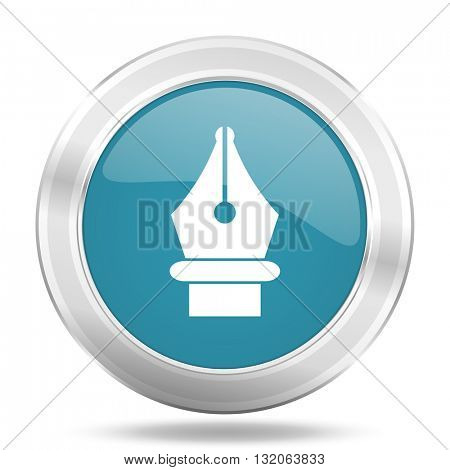 pen icon, blue round metallic glossy button, web and mobile app design illustration