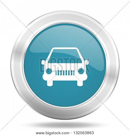 car icon, blue round metallic glossy button, web and mobile app design illustration