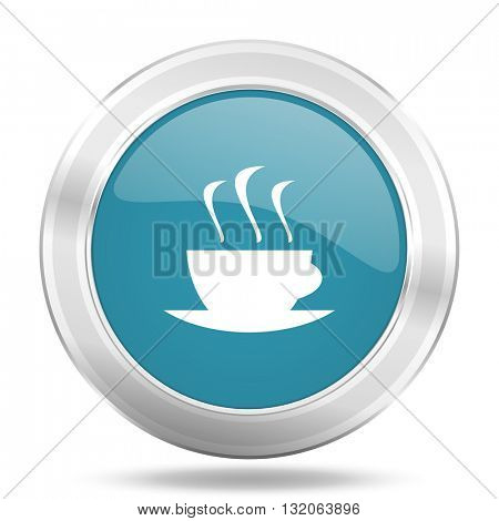 espresso icon, blue round metallic glossy button, web and mobile app design illustration