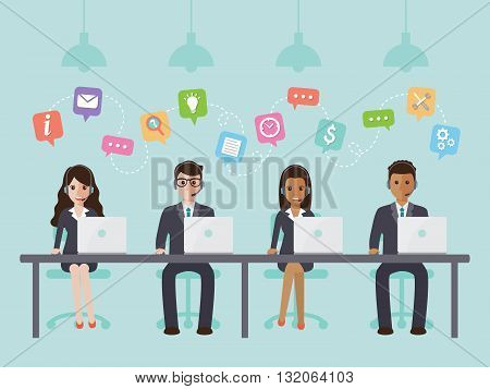 call center and customer service people in office.