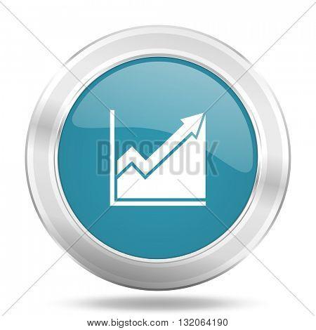 histogram icon, blue round metallic glossy button, web and mobile app design illustration