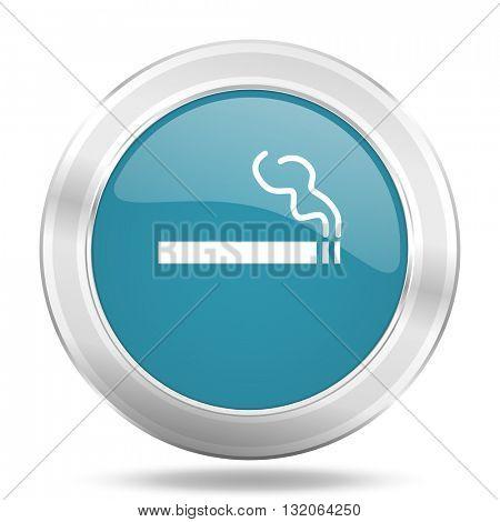 cigarette icon, blue round metallic glossy button, web and mobile app design illustration