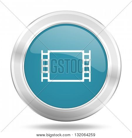 movie icon, blue round metallic glossy button, web and mobile app design illustration