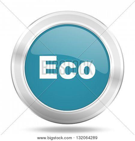 eco icon, blue round metallic glossy button, web and mobile app design illustration