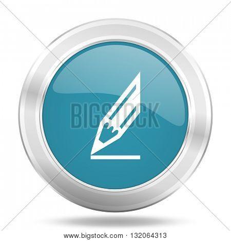 pencil icon, blue round metallic glossy button, web and mobile app design illustration