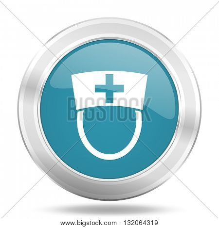 nurse icon, blue round metallic glossy button, web and mobile app design illustration