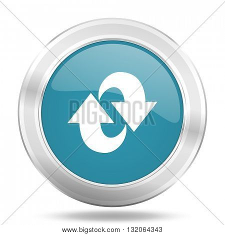 rotation icon, blue round metallic glossy button, web and mobile app design illustration
