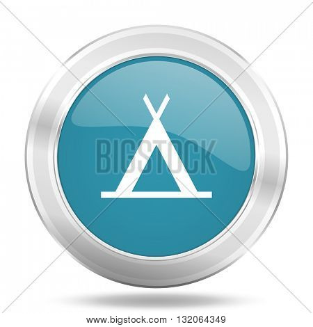 camp icon, blue round metallic glossy button, web and mobile app design illustration