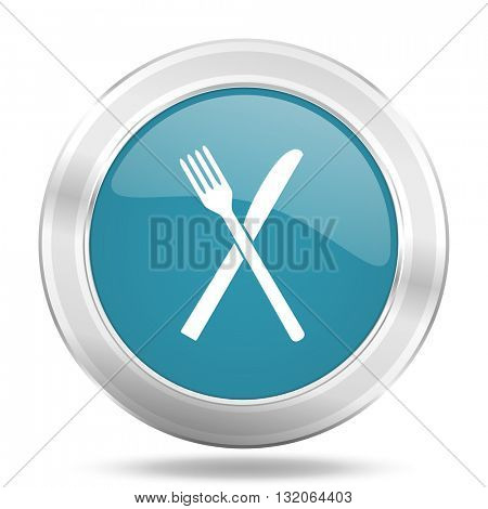 restaurant icon, blue round metallic glossy button, web and mobile app design illustration