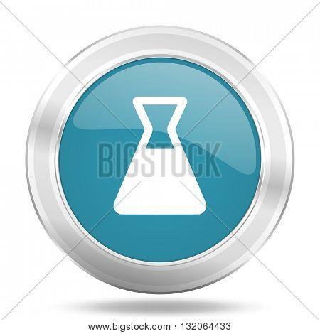 laboratory icon, blue round metallic glossy button, web and mobile app design illustration