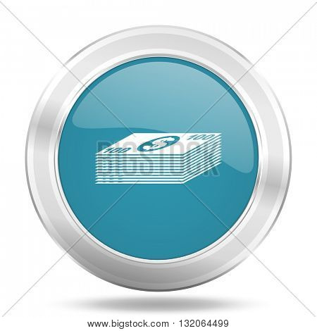 money icon, blue round metallic glossy button, web and mobile app design illustration