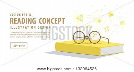 Illustration vector banner yellow book with glasses resting on top. Background is icons refers to knowledge and learning.
