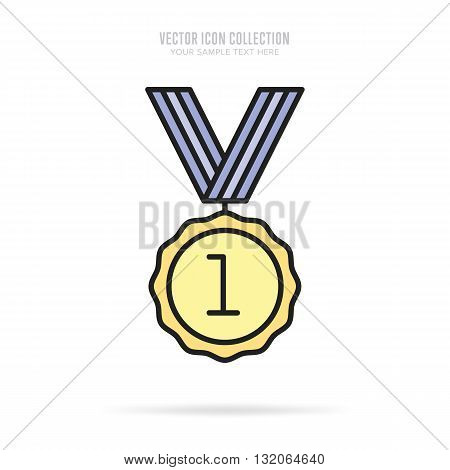 First place award. Gold medal icon. Medal flat modern style. Vector medal. Award medal. Isolated medal of first place illustration. Winner symbol. Medal icon with ribbon. Winner icon. Gold medal with first place. Victory sign. Champions medal icon.