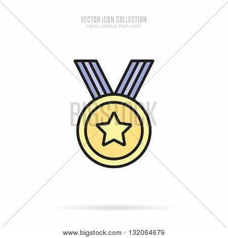 Gold medal icon. Medal flat modern style. Vector medal. Award medal. Isolated medal illustration. Winner symbol. Medal icon with ribbon. Winner icon. Gold medal with star shape. Victory sign. Champions medal icon.