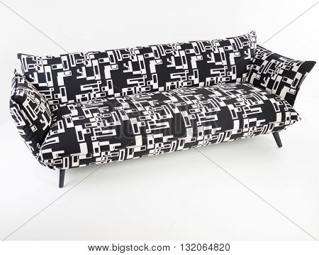 Modern black furniture in white room